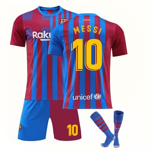 WYIILIN Fußball-T-Shirt, Fußball-Trainingsuniform für Kinder, 2021 M.E.S.S.I. Heimtrikot Nr. 10, Fußballtrikots für Erwachsene und Frauen, Rot und Blau 28