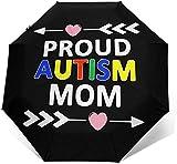 Parasol automático de tres pliegues con diseño de madre con texto en inglés 'Proud Autism Mom'