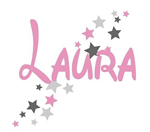 Türaufkleber mit Wunschnamen, 73064-29cm-tricolore-rosa-dunkelgrau-grau, Sterne Mädchenzimmer, Kinderzimmer Mädchen, Wandaufkleber