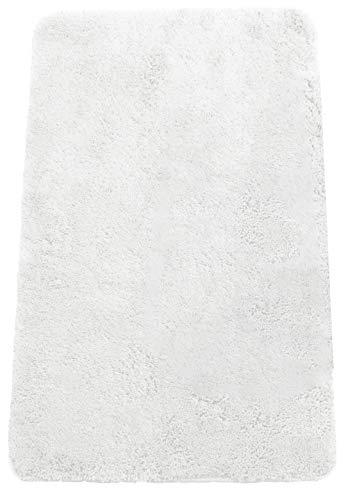 Brandseller - Alfombra de baño moderna de chenilla en estilo tupido, color crema, verde, turquesa, burdeos, gris y pardo, aprox. 50 x 70 cm, poliéster, Blanco, 50 x 80 cm