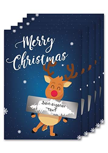 JoliCoon Rubbellos Set für den Weihnachtsbaum - Weihnachtskarte mit Überraschungsfunktion