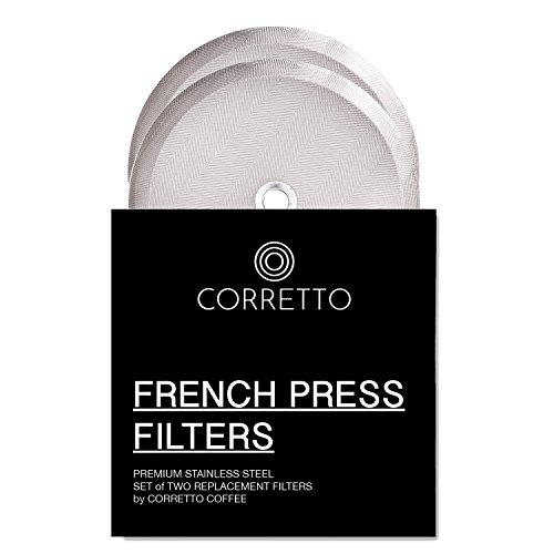 Corretto Coffee Universal-Filter für Kaffeepresse mit 8 Tassen, 1 l, 2 feinmaschige Edelstahl-Siebe für Bodum, Kona und die meisten Kaffeedrücker mit 8 Tassen, 10,2 cm breit, 2 Stück