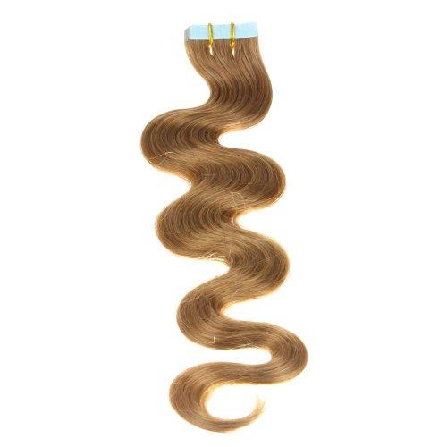 Just Beautiful Hair and Cosmetics Skin Weft Lot de 30 extensions avec bandes adhésives Cheveux Remy ondulés Mèches de 2,5 g et 50 cm