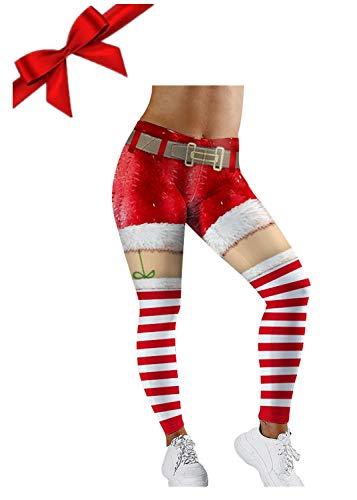 Vertvie Damen Leggings 3D Druck Langhose Winter Weihnachten Leggings Kostüm Hohe Taille Sweathose Strumpfhose Thermo Tights Sporthosen Freizeithosen (L, A-Rot)