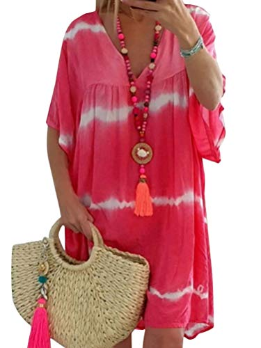 Romose Mujer Vestido Bohemio Corto Verano Casual V-Cuello Mangas Cortas Chic Boho Vestidos De Playa Sundress A Rosa US 14