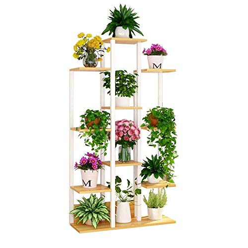 JT - Support de pot de fleurs en métal - Design escalier - Décoration de bureau - Support de rangement multifonction - Couleur : noyer - Dimensions : 20 x 60 x 144 cm