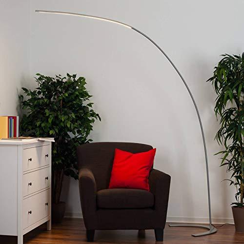 Lindby LED Stehlampe (Bogenleuchte) \'Danua\' dimmbar (Modern) in Alu aus Metall u.a. für Wohnzimmer & Esszimmer (1 flammig, A+, inkl. Leuchtmittel) - LED-Stehleuchte, Floor Lamp, Standleuchte