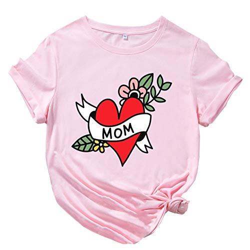 Mujer Algodón Verano Casual Tops Camiseta de Manga Corta Para el Día de la Madre para Mujer Cuello Redondo Estampado de Letras Camiseta Para el Día de la Madreideal Como Regalo ( Color : Pink 3XL )