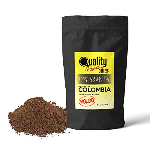 Gemahlener Kaffee. 100% Arabica. Einzigartige Herkunft Kolumbien. Mittlere Röstkaffee. Fein gemahlen (Geeignet für Espresso, Italienisch). Packung 500 gr. Röstkaffee handwerk.