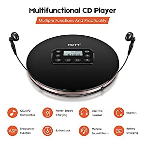 CD Player Portable,HOTT Latest Rechargeable Compact Walkman Personal CD Player with AUX Cable Headphone Electronic Skip Protection Anti-Shock Function for Kids/Adults with 10 Hours Playtimes