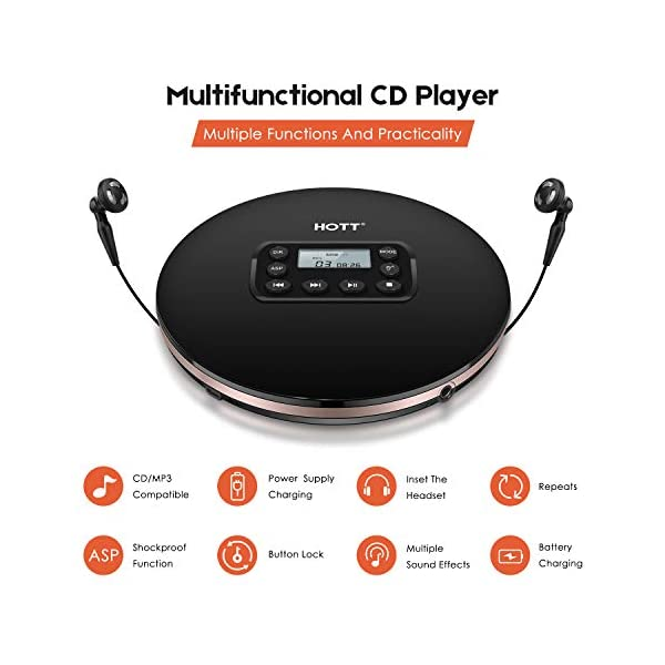 CD Player Portable,HOTT Latest Rechargeable Compact Walkman Personal CD Player with AUX Cable Headphone Electronic Skip Protection Anti-Shock Function for Kids/Adults with 10 Hours Playtimes 4