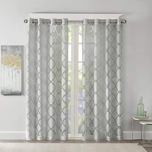 Madison Park Eden - Tende per camera da letto, moderne e contemporanee, per soggiorno, motivo geometrico con passante, 50 x 95 cm, grigio