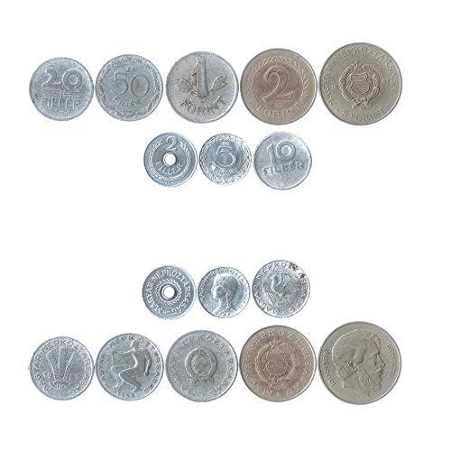 Hobby of Kings Set di 8 Monete dall'Ungheria. 2, 5, 10, 20, 50 Filler, 1, 2, 5 Fiorini. 1949-1973