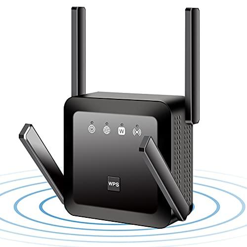 INMUA Amplificador WiFi AC1200 Repetidor de WiFi,Repetidor WiFi Largo Alcance Doble Banda 2.4 GHz y 5GHz,Toma de Enchufe,4 AntenasExternas(Negro)