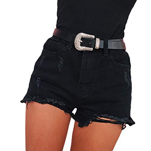 Shorts Vaqueros Mujer Vintage Distressed Agujero Jeans Pantalón Corto Cintura Alta Skinny Pantalones de Mezclilla Verano Casual Pantalones Cortos de Pierna Ancha con Cordón