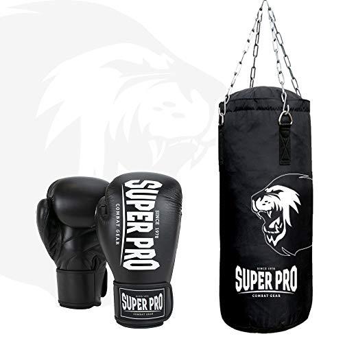 Super Pro Unisex - bokszak voor volwassenen set boxset, zwart/wit, 90 cm