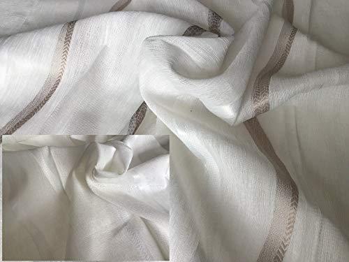Muro - Tela para cortinas por metro - 2 variantes: blanco natural/pardo - blanco natural - Altura del tejido 300 cm