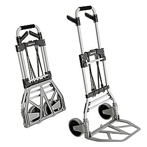 ATHLON TOOLS Carretilla plegable de aluminio para cargas pesadas | Grandes ruedas de marcha suave con bandas de rodadura blandas | Incluye 2 cuerdas extensoras