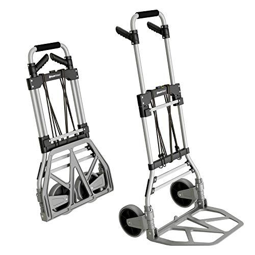 ATHLON TOOLS Aluminium Schwerlast-Sackkarre klappbar | Große leichtgängige Räder mit Soft-Laufflächen |inkl. 2 Expanderseilen |Farbe: schwarz + alu