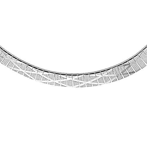 Tuscany Silver Sterling Silver Women's Cleopatra Style Diamond Pattern Necklace of Length 43cm