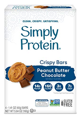 SimplyProtein Crispy Bars. Clean and Light Crispy Bars with Plant Based Protein (Peanut Butter Chocolate, 24 Pack).