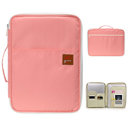BTSKY Multi-Functional A4 Document Bags Portfolio Organizer-Waterproof Travel Pouch Zippered Case for Ipads, Notebooks, Pens, Documents (Light Pink)