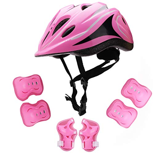 YILITEI Kids Helmet Knee Elbow Pads Wrist Guard Sport Protective Gear Adjustable Scooter Skateboard Roller Bike Skate Cycling Safety Set for Child 5-12 Years