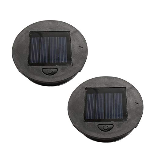 NHBETYS 2 Pack Solar Light Replacement Top,Waterproof round Solar Panel,Warm white LED, lighting for the night,Suitable for Outdoor Hanging Solar Lanterns