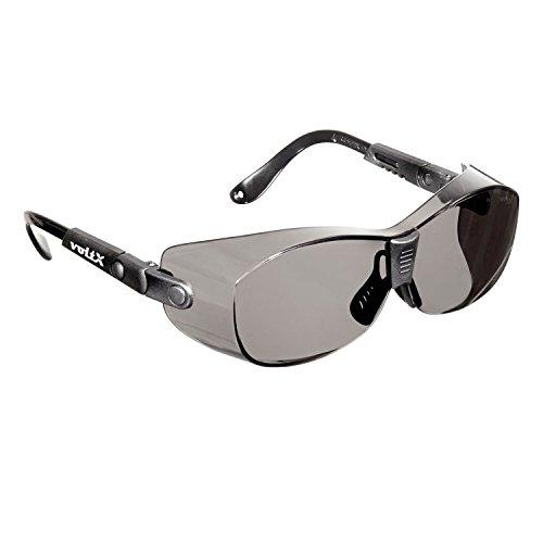 voltX 'RETRO' OVERZETVEILIGHEIDSBRIL – Geschikt als OVERZETBRIL voor KLEINE/MIDDELGROTE BRILMONTUREN - Kan ook als gewone veiligheidsbril worden gedragen. CE En166ft gecertificeerd (ROOKKLEURIG/GRIJS Lens)
