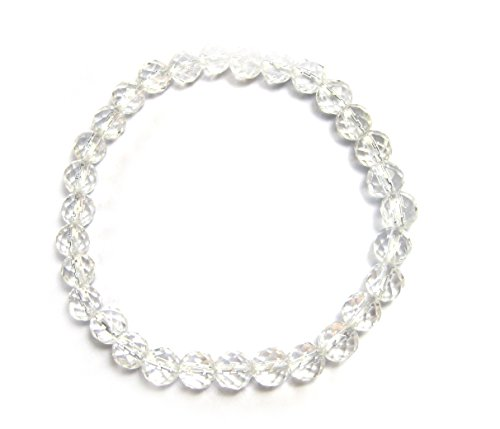 De cristal de roca - bola Tallada - cada 6 mm - Bola de pulsera - pulsera de perlas - pulsera - mala - de piedras preciosas - de piedras preciosas joyas - pulsera - a + calidad+