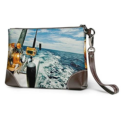 VJSDIUD Cartera de mano con flecos/hebilla para cinturón de pesca en un barco, bolso de mano de mano de piel desmontable para mujer, monederos de muñeca para mujer