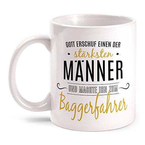 Fashionalarm Tasse Gott erschuf Baggerfahrer beidseitig bedruckt mit Spruch   Geschenk Idee Baggerführer Bau Arbeiter Beruf Job Arbeit, Farbe:weiß