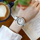 ASBIAOReloj de cerámica para Mujer, Blanco, Coreano, Reloj para Mujer, Temperamento Impermeable, Reloj de Cuarzo para Mujer, Tendencia de Moda, Reloj para Mujer, Trompeta Negra