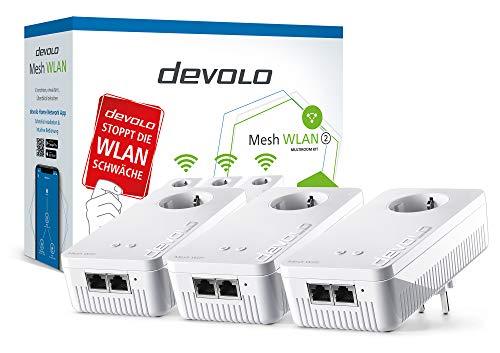 Devolo Mesh WLAN 2 – 1200 WiFi ac Multiroom Kit: 3 WiFi-Adapter für raumübergreifendes Mesh-WLAN, ideal für Streaming (1200 Mbit/s, Tri-Band-System, 3x2 Gigabit LAN-Anschlüsse), weiß, 8794