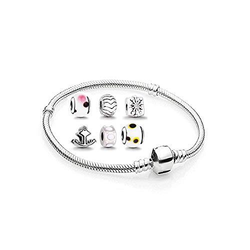 Charms anhänger set mit Armband - zwischenelement element für lederarmband halskette braclet armreif schmuck viele Farben Größen auswahl clips ringe stopper ohrstecker herz rose bead Silber 18cm