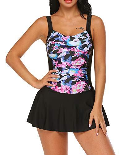 Ekouaer Women's Plus-Size Flower Printing Shaping Body One Piece Swim Dresses Swimsuit(Black XL)