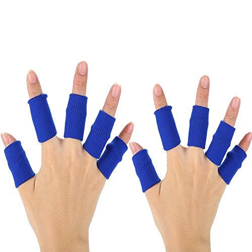 XDSP Fingerschutz, Ärmelschutz 10 Stück Fingerhülse elastisch, Bandagen Finger, Fingerhülle Schutz Fingerband zum Schutz Bei Arthritis und Beim Sport (Blue)
