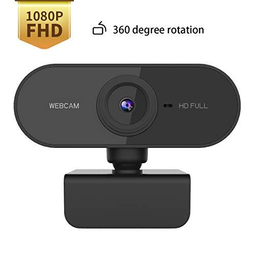 1080P Webcam Mit Mikrofon, Webcam 1080P,HD Pro Stream Video Streaming,360 Grad Basisdrehung,PC Laptop Desktop USB Full HD Webkamera Für Videoanrufe, Studieren, Konferenzen, Aufzeichnen