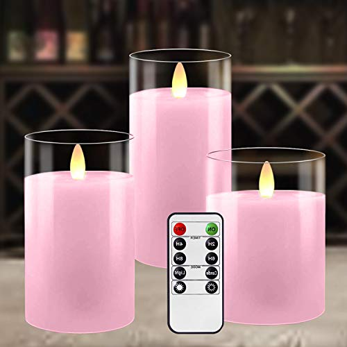 Battery Operated Candles with Remote Timer, LED Flameless Candle Gift Set, Pillar Real Wax Flickering Candles with Glass Holder for Home Party Wedding Valentines Decor, Set of 3 (Pink)
