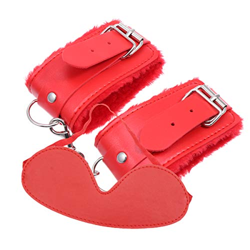 2pcs Sex Handcuffs and Blindfold Set Restraining Bondageromance Roleplay Accessories for Adults Couples Red