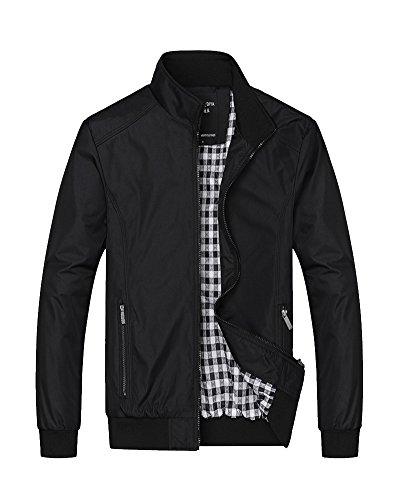 Hombre Casual Chaqueta Collar del Soporte Manga Larga Abrigo Negro 3XL