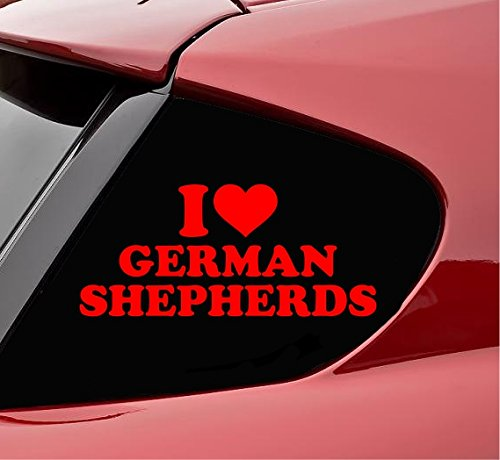 Slap-Art I Heart German Shepherds Dog pet Service Animal k9 Police Vinyl Decal Sticker (Red)