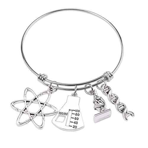 LLsuy Science Teacher Gift Atom Microscope Bracelet Biology Chemistry Teacher Bracelet Biology Graduation Gifts (Science Charm-BR)