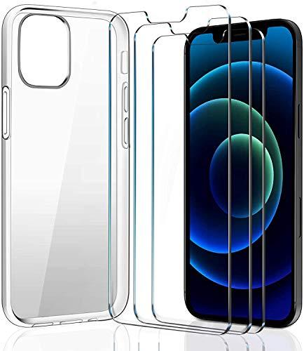 ivoler FundaCompatibleconiPhone6,1Pulgadas2020(12Pro,12)con3UnidadesProtectordePantalla,Transparente