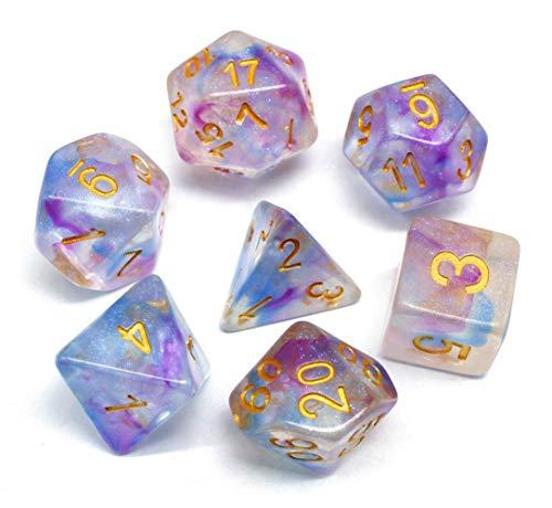 Juego de dados DND púrpura y azul transparente dados con estrella que cambia de color para mazmorras y dragones (D&D) RPG Pathfinder juego de rol Polyhedral Dice Set