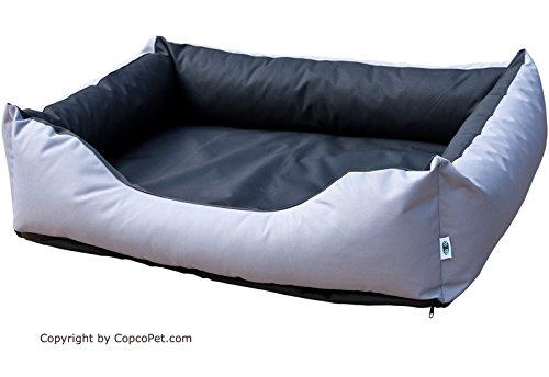 CopcoPet - Hundebetten Max Schwarz/Grau Gr: L - ca. 90 x 70 cm mit sehr robustem Codura Stoff. Zum Selbstbeziehen