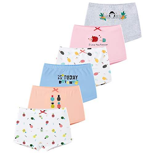 LeQeZe 6er Pack Mädchen Unterhosen Baumwolle Gemischte Kinder Unterwäsche Boxershorts 2-11 Jahre (Girls 06, 4-5Jahre)