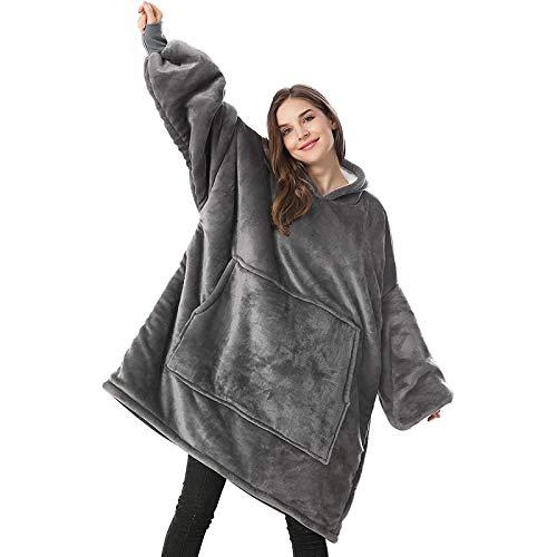 Lushforest Hoodie Sweatshirt, Damen Kapuzenpullover, Riesen-Sweatshirt, Super weich und bequem, Geeignet für Erwachsene, Männer, Frauen, Jugendliche (Grau)