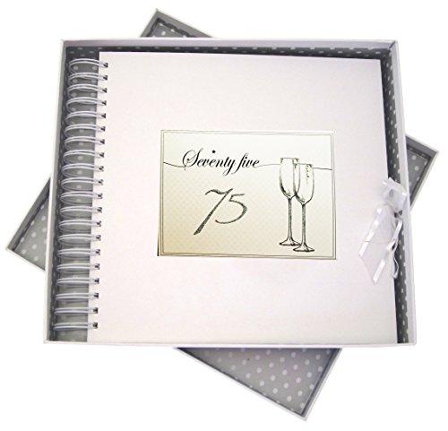 Blanc Coton Cartes d'anniversaire Carte d'flûtes à 75 Ans et mémoire Livre, Tableau, Blanc, 27 x 30 x 4 cm