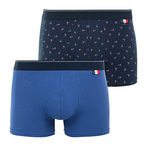 Eminence - Lot de 2 Boxers Homme Made in France - Taille : 5 - Couleur : Bleu Lavande-Print Drapeau